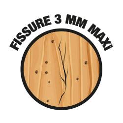 Fissure dans du bois, jusqu'à 3 mm maxi